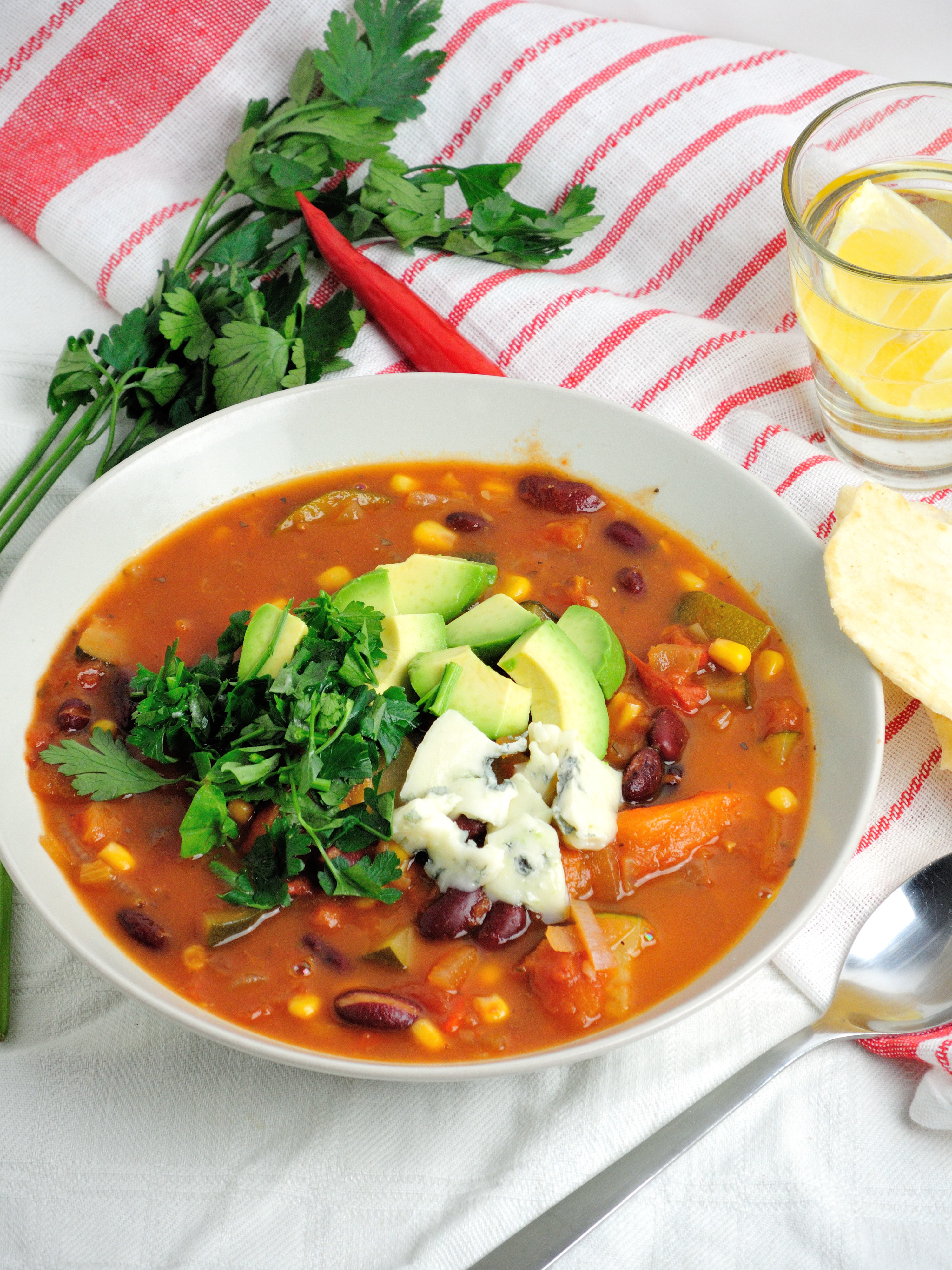 Warzywna Zupa Meksykańska Rabarbarowo