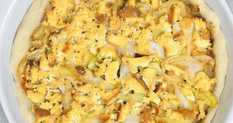 Tarta z porami i wegańskim sosem beszamelowym