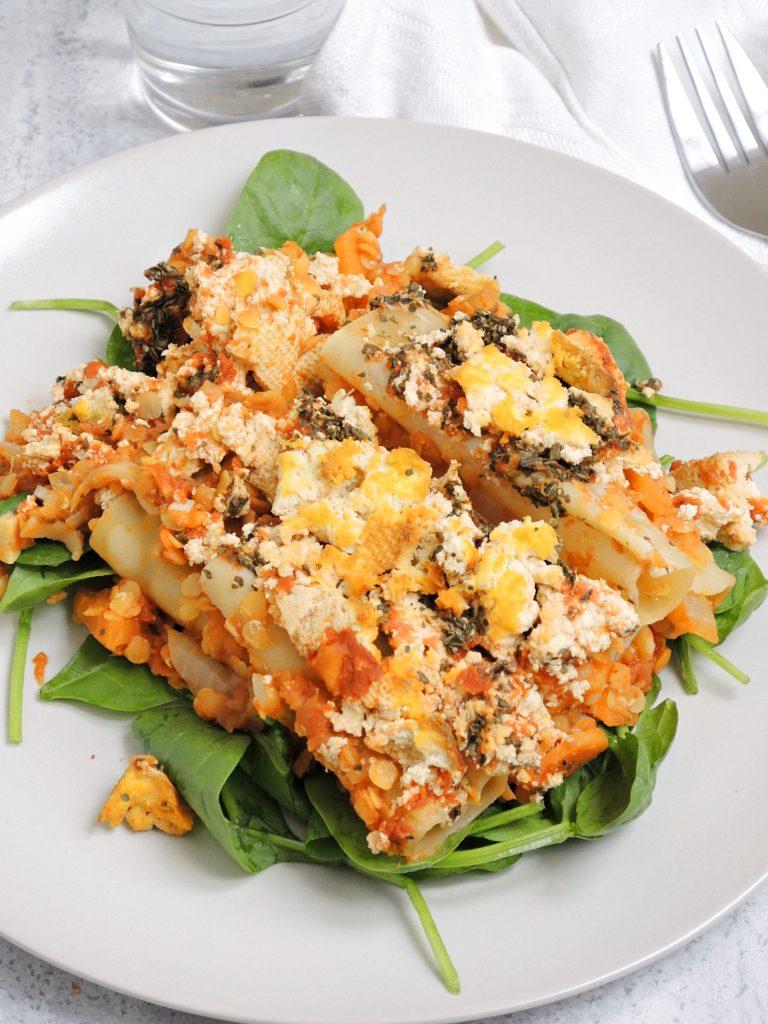 Zapiekanka Cannelloni z Soczewicą i Tofu