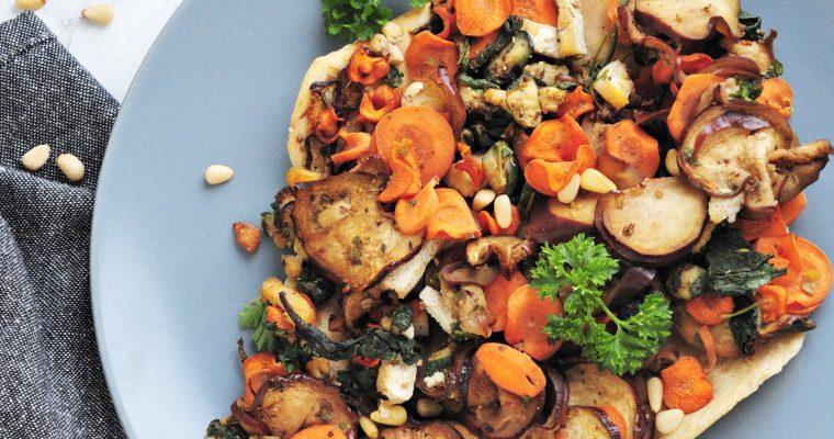 Pieczone warzywa na kruchym cieście