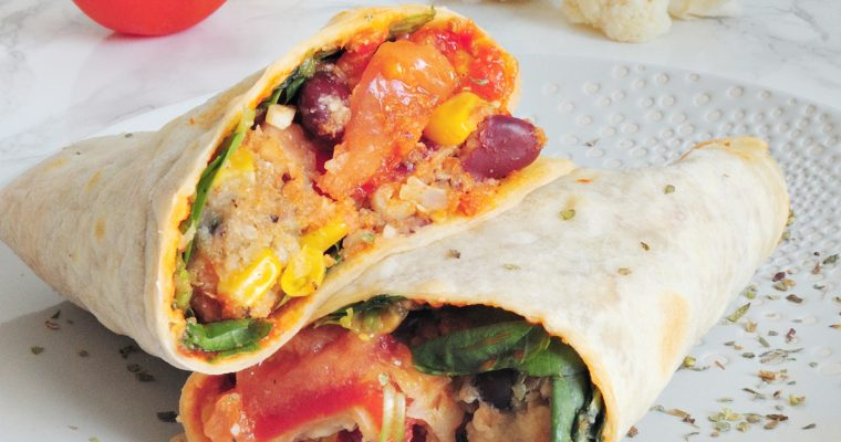 Wegańskie burrito z kalafiorem i fasolą